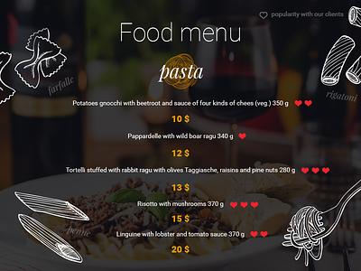 """Food Menu """"pasta"""" daily ui 043 dailyui043 043 daily ui dailyui pasta menu food food menu"""