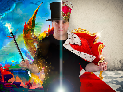 Magician & King wizard postproduction photo effect photoshop photomontage king magician