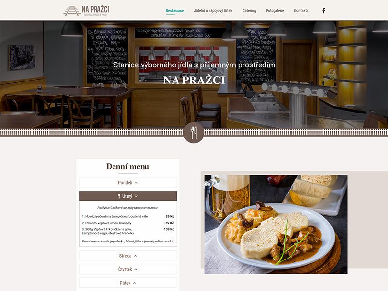 "Webdesign of restaurant ""Na Pražci"" catering restaurant web website web design design web design ui ux ui design design of website webdesign"