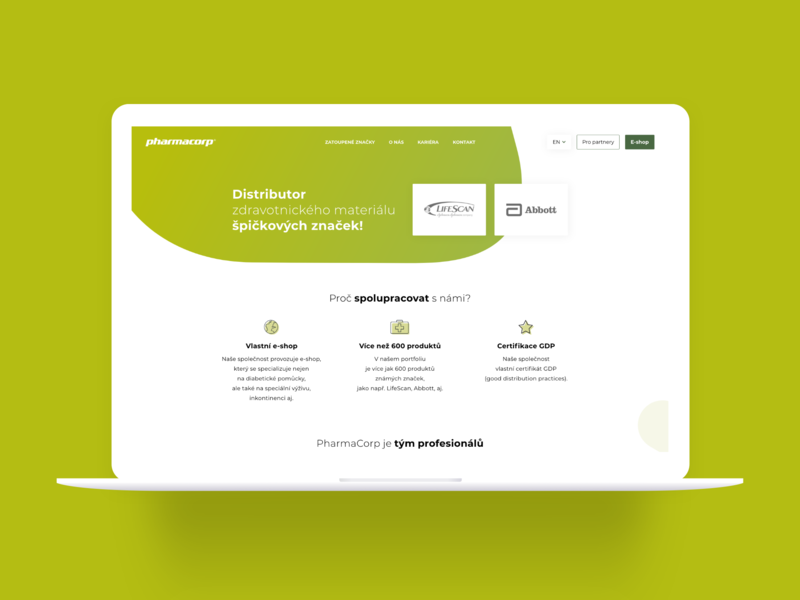 Design of website for company Pharmacorp, s.r.o. design of website green ux design ui design czech corporation pharmacy company pharmacorp webdesign design site website ux ui