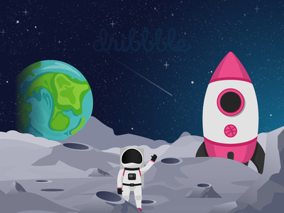The designer astronaut on the Moon dribbble rocket planet sky stars star kosmonaut cosmonaut spaceman space universe earth rocket designers design astronaut on the moon astronaut on moon design astronaut dribbble moon astronaut