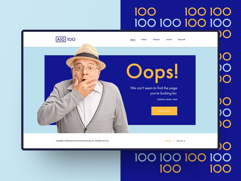 AIG 100 - 404 Page Design page plan for 100 100 design 404 retirement aig
