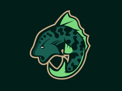 Fish fish logo design sports green