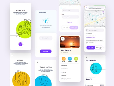 Book A Ride trip planner user experience travel app bold design app app design auto automotive card map interactions ux ui mobile rental app ride sharing ride hailing search clean ui user interface