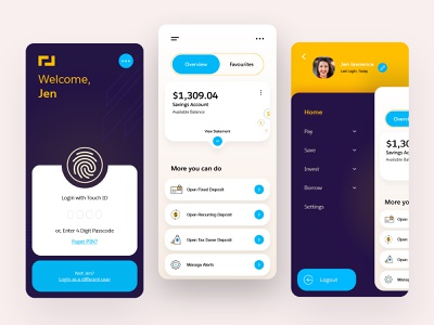 Banking App fintech app fintech neobanking financial banking ui banking app mobile design card dashboard ui management app loan app user experience user inteface clean uiux application ux ui bold design app design