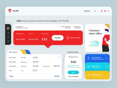 Bill Dashboard dashboard ui dashboard ipad digital wallet app banking fintech money transaction payment bill card clean ui ux design uidesign uxui ux tablet