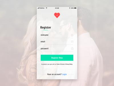 UX/UI Register Screen for Dating App