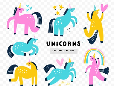 Cute Unicorns cute nursery art unicorns svg kids art nursery animal unicorn cartoon doodle vector drawing hand drawn illustration