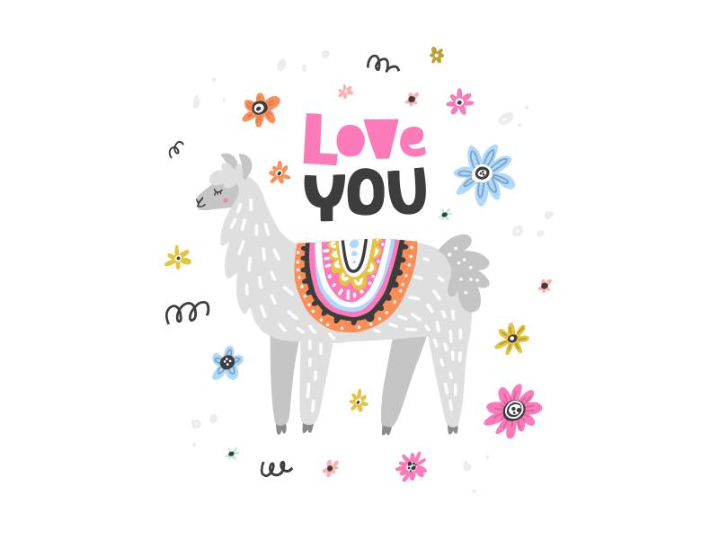 Lama Love vector drawing animal childish nursery cute lettering character illustration lama