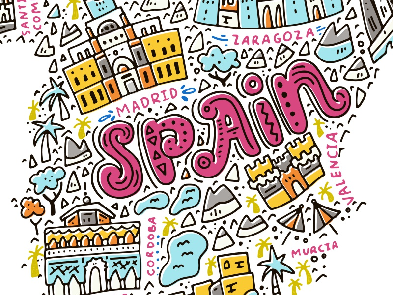 Map Of Spain Drawing.Map Of Spain By Olga Zakharova On Dribbble