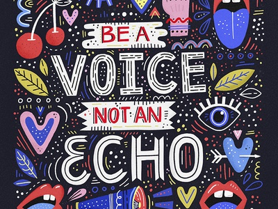 Be a Voice texture ipadpro cartoon design drawing quote handdrawn abstract concept poster typography hand drawn lettering illustration girl power voice strong woman feminism