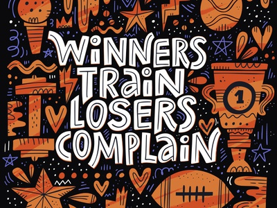 Winners vs Losers quote amazing poster winner sport concept cartoon drawing vector typography hand drawn lettering illustration