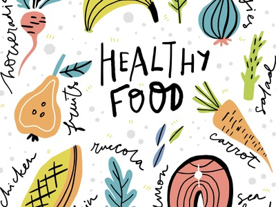 Healthy Food type organic veggies healthy food flat brush concept cartoon handdrawn drawing vector typography hand drawn lettering illustration