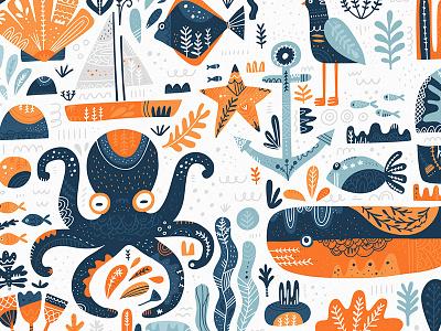 Nordic Sea vector clipart elements sea ocean marine decoration ornament scandinavian folklor folk nordic cartoon doodle hand drawn illustration