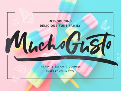 Mucho Gusto food typography letters type energetic active bold doodle family amazing script font
