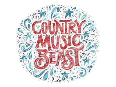 Country Music Beast illustration agency country festival music design letters concept handdrawn quote drawing vector lettering hand drawn illustration