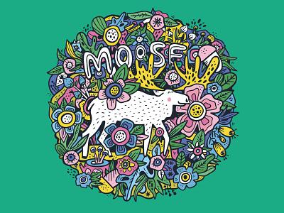 Moose in tropics cartoon concept lettering tropical floral forest moose colorful doodling doodle kids illustration animal hand drawn illustration