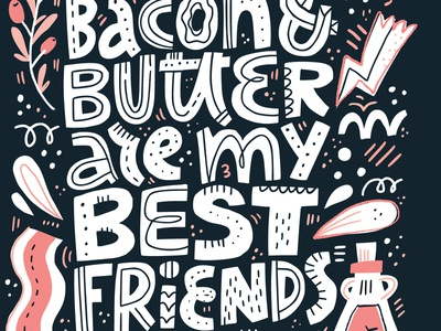 Keto diet bacon food poster restaurant keto handdrawn quote drawing vector typography hand drawn lettering illustration
