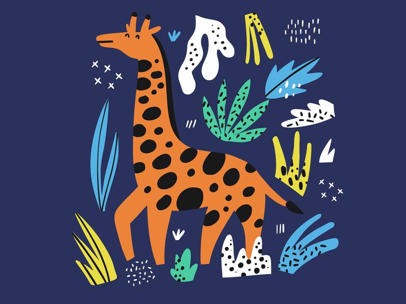 Hey Africa bold cute giraffe poster children kids africa animal drawing doodle hand drawn illustration