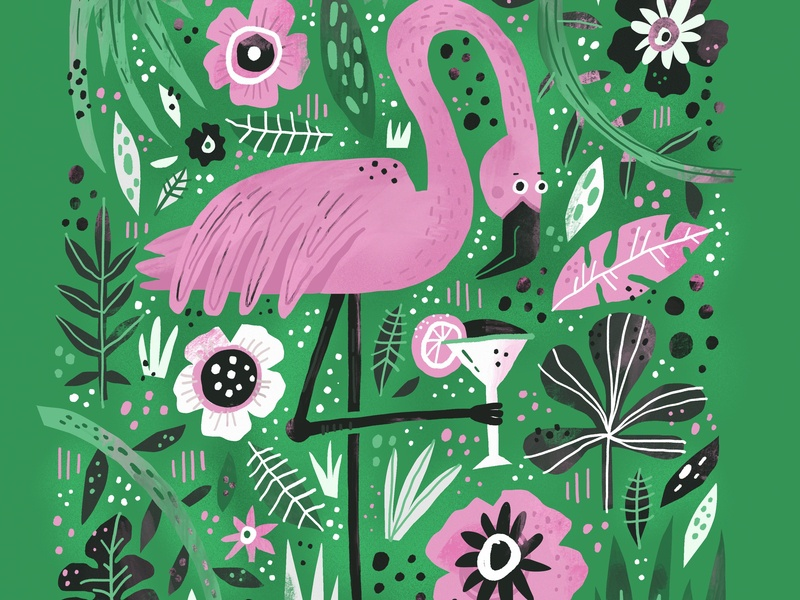 Flamingo jungle texture childrens kids awesome cute flamingo bird animal drawing quote illustration