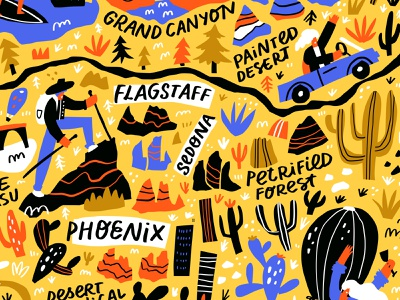 Arizona Map cartography arizona usa concept cartoon doodle illustration lettering typography hand drawn maps mapping map