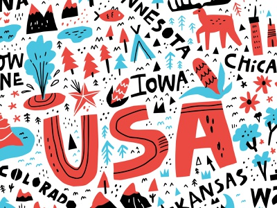 USA map nature wild usa design concept handdrawn doodle vector drawing typography hand drawn lettering illustration cartography cartoon maps mapping map