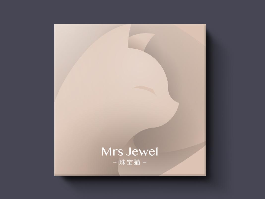 珠宝直播Logo设计-珠宝猫 china brand logo cat jewel