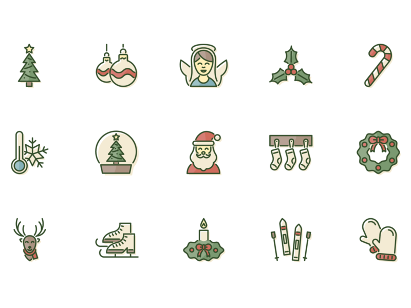 Christmas is coming christmas winter christmas icons winter icons icon set christmas tree santa claus christmas party new years eve cold freezee filled outline filled icons minimalist simple design simple icons