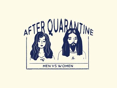Men vs Women typography app hair quarantine women men vintage badge badge art hcmc vietnam dribbble design illustration