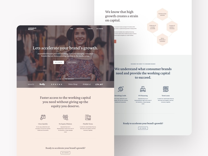 Assembled Brands hexagon pastel one page design one page landing page money financial finance influencer bank banking b2b serif accelerator brands capital