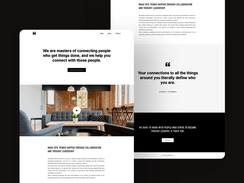 Networked.io condensed din interui brands marketing landing page one page site one page bw black and white bold linkedin networking network