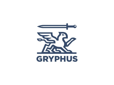 Griffin logo finances branding realestate legal service law financial protection sword logo gryphon griffon griffin