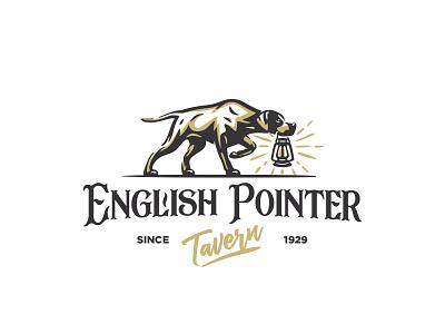 English Pointer Tavern Logo illustration gundog restaurant inn pub tavrn branding logo pointer english dog hunting