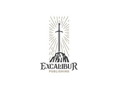 Excalibur logo entertainment media storytelling branding mark sword logo king arthur king sword legend excalibur
