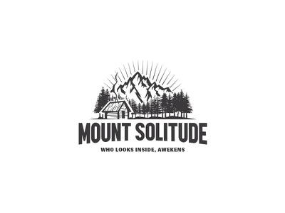 Outdoor Logo rehab therapy illustration forest logo solitude cabin shack woods pines forest mountain outdoor