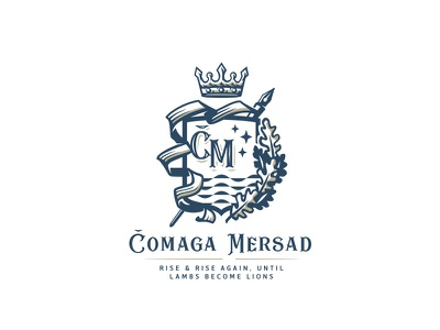 Monogram Crest logo design oak crown spear pen initials luxurious royal family crest heraldry crest logo monogram