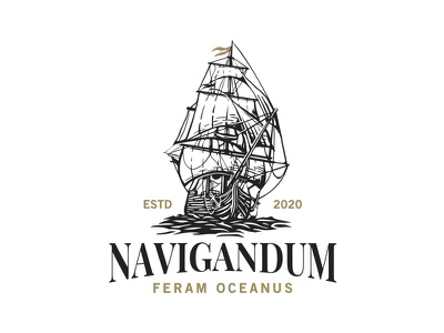 Sailing Ship logo design illustration ocean logo spices tea coffee bistro restaurant adventure ocean sea sailing ship