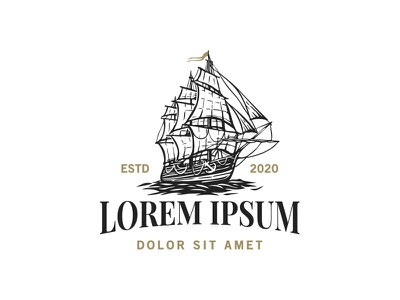 Ship logo design tea beverages coffee negative space oceans sailing ship illustration branding classic logo