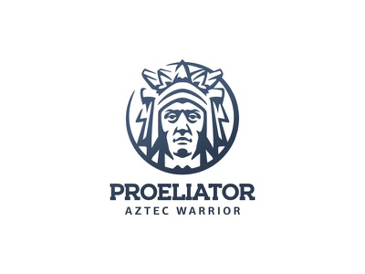 Astec Warrior portrait man heritage culture character branding illustration negative space mark logo mexico aztec