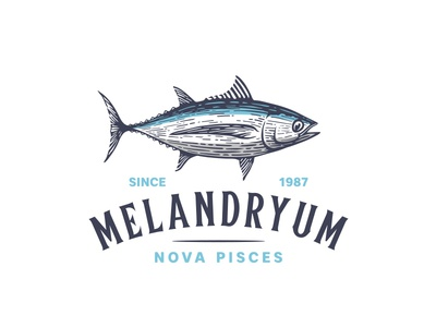 Tuna logo design longfin tuna canned fish food ocean logo linocut woodcut etching scratchboard illustration fish tuna