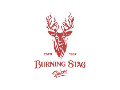 Burning Stag logo design woodcut spices outdoor food hunting mule deer stag simple branding negative space illustration logo