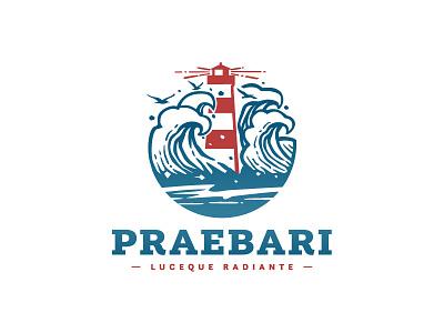 lighthouse logo negative space branding logo wave illustration blue red seagull marine mark hope light sailing sea ocean waves lighthouse