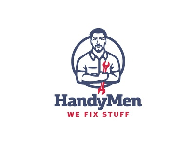 Handyman logo key man masculine honest work electric plumbing worker diy fixer jack of all trades mechanic portrait head classic branding negative space illustration mark logo handyman