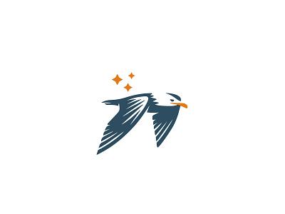 Seagull logo design sport flights endurance tourism travel transportation transport simple classic branding negative space illustration animal mark logo fly bird gull seagull