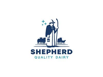 Shepherd and sheep logo minimalism minimal simple classic negative space branding illustration animal mark logo meat dairy cheese stars staff sheep shepherd