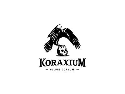 Black Raven logo dark skull crow raven simple vector bird classic negative space branding illustration animal mark logo