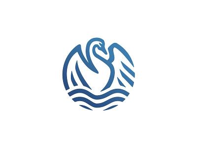 swan logo clean white blue waves water peace love swan minimal bird simple classic negative space branding illustration animal mark logo
