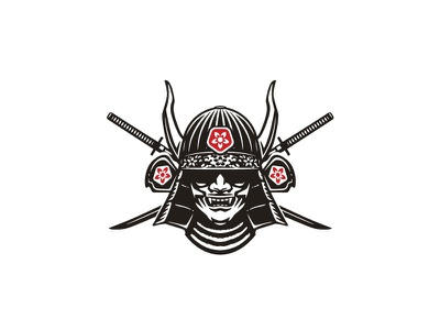 Samurai mask logo design ninja shinobi vector sport classic negative space branding logo illustration mark sword logo warrior sword katana mask samurai