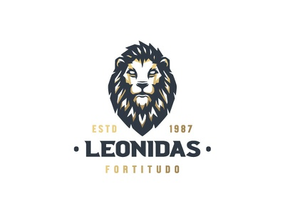 Golden Lion logo demon stoic modern esports sport head simple illustration classic negative space lion head logo wild cat mark logo branding animal spartan leonidas leo lion