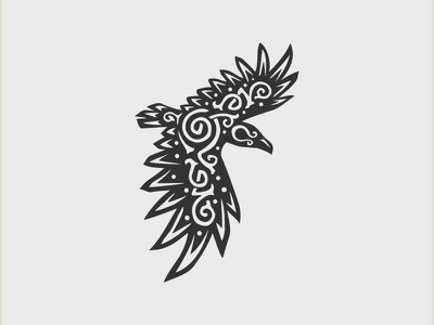 Norse raven logo design crow odin raven scandinavia denmark finland norway sweden nordic norse vector bird classic negative space illustration branding animal mark logo